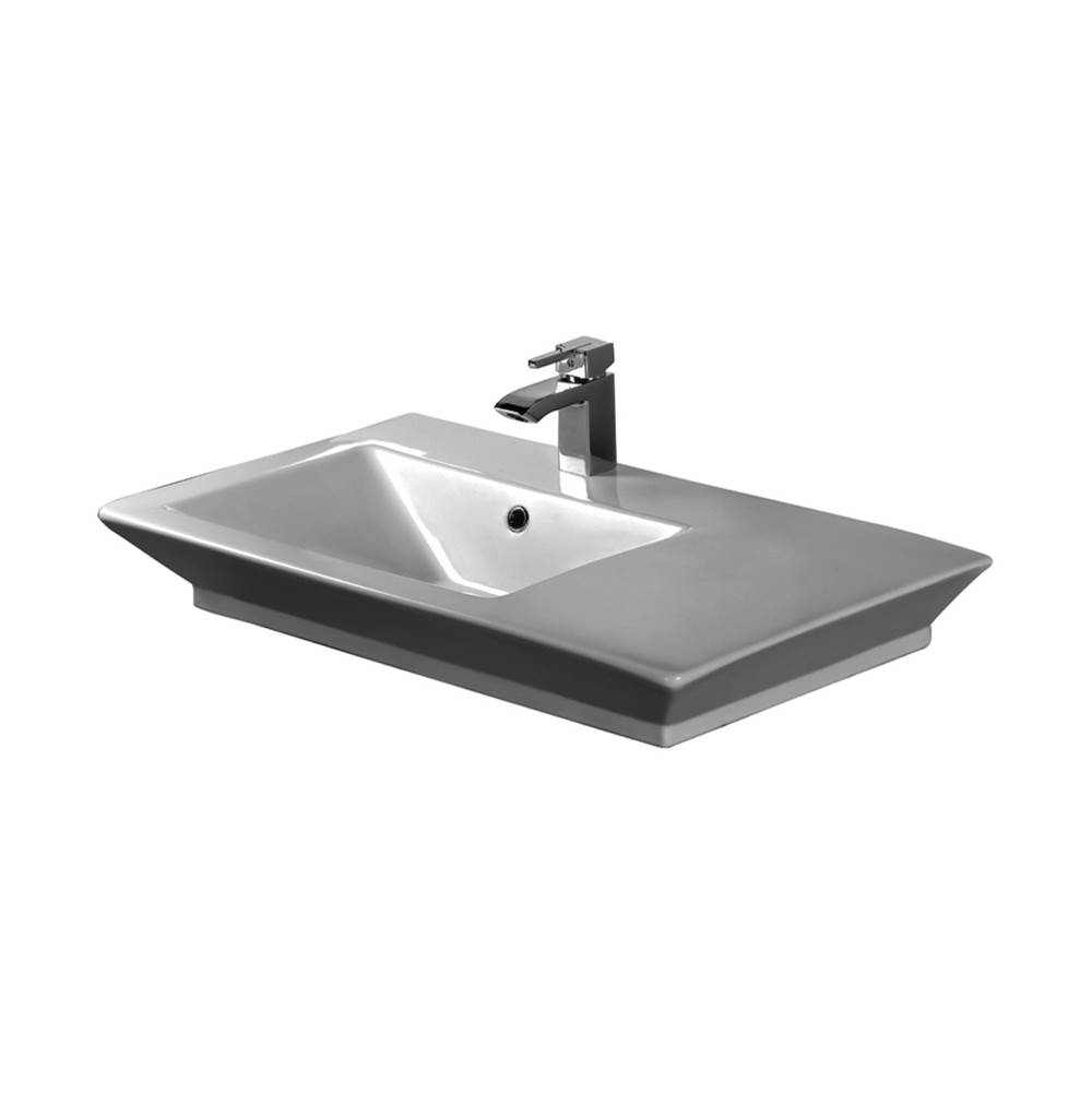 Barclay Opulence Above Counter Basin 1-Hole,31-1/2'',White,Rect.Bowl