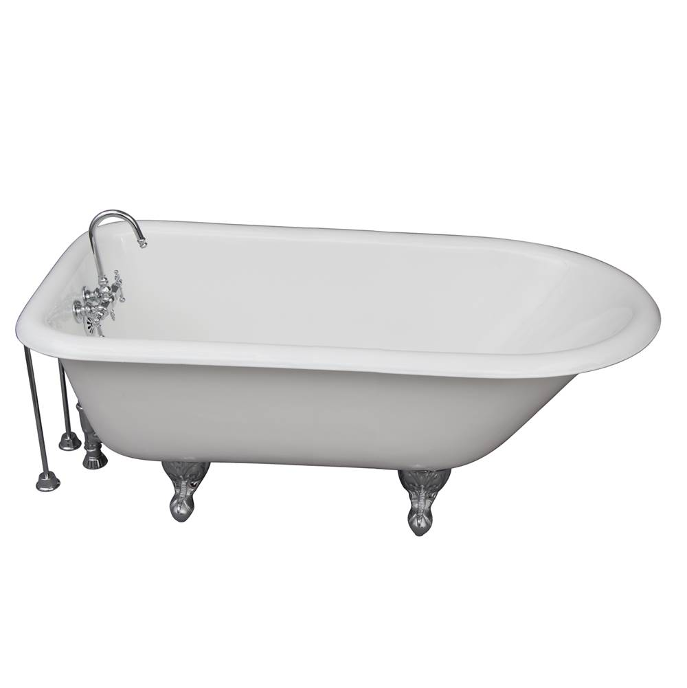 Barclay Tub Kit 60'' CI Roll Top, Tub Filler, Supplies, Drain-Chrome