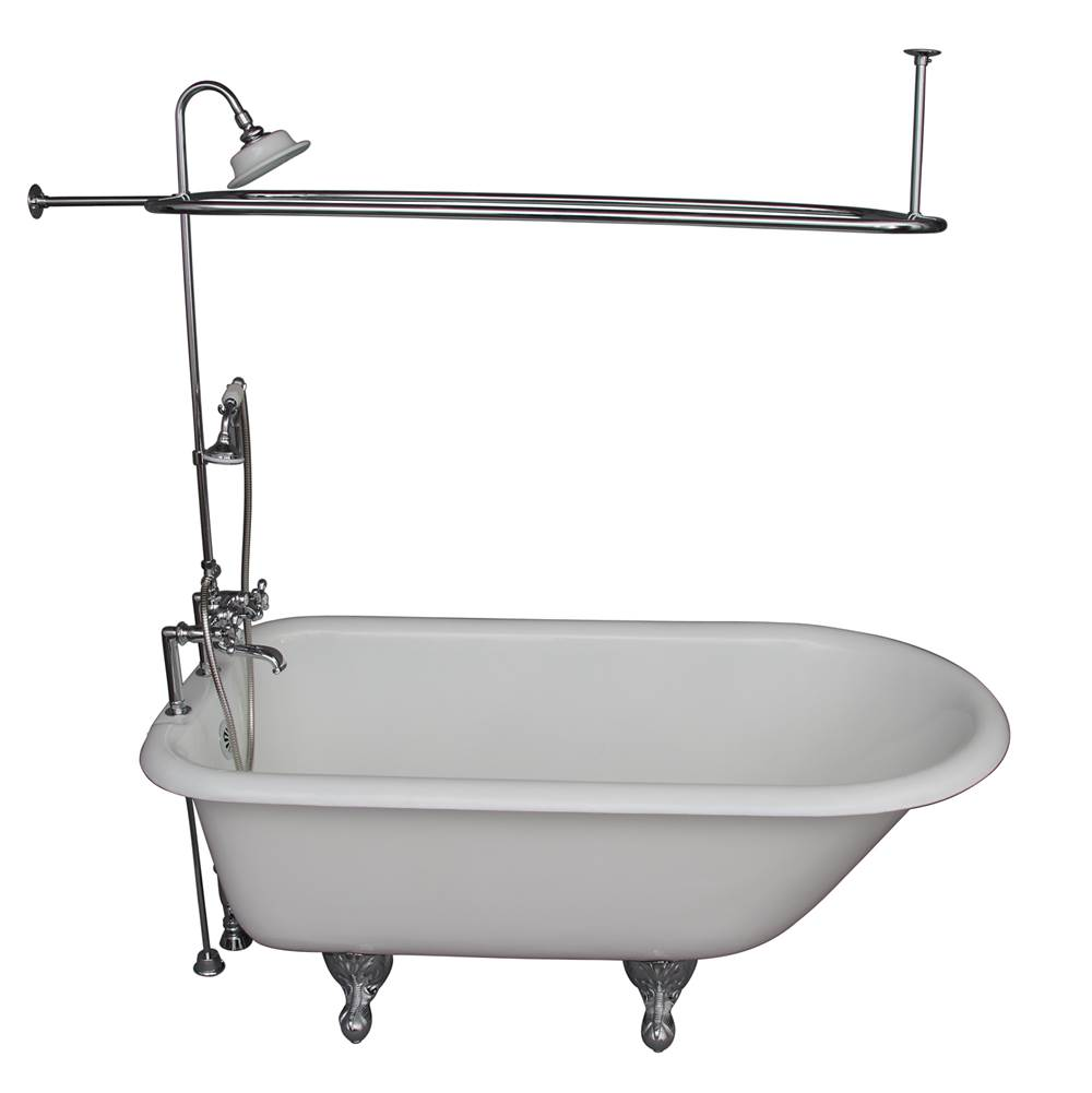 Barclay Tub Kit 60'' CI Roll Top, Shwr Unit, Supplies, Drain-Chrome