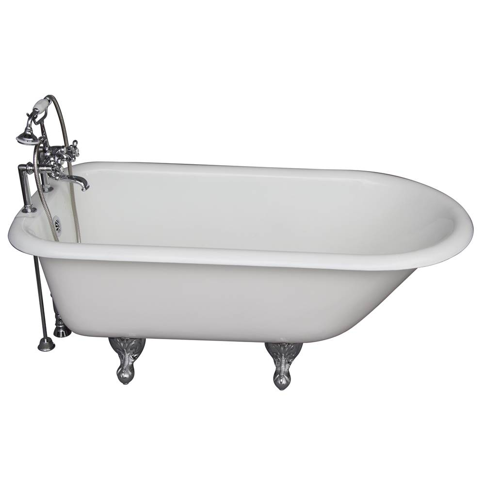 Barclay Tub Kit 67'' CI Roll Top, Tub Filler, Supplies, Drain-Chrome