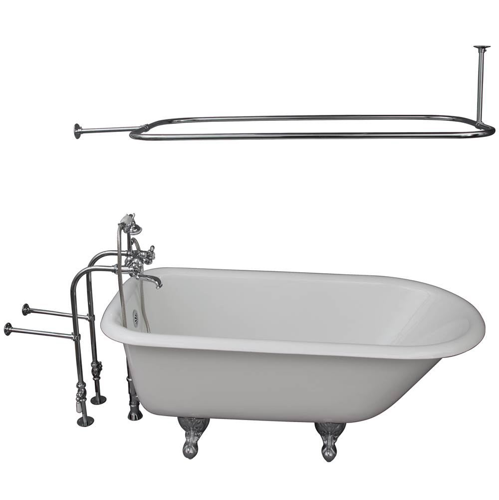 Barclay Tub Kit 60'' CI Roll Top, Shwr Rd,Filler,Supplies, Drain-Chrm