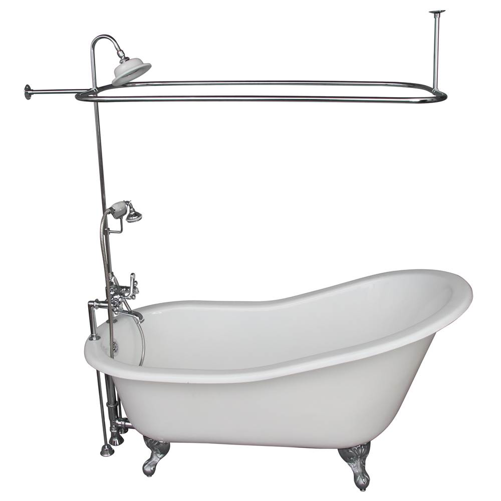 Barclay Tub Kit 60'' CI Slipper, Shwr Unit, Supplies, Drain-Chrome