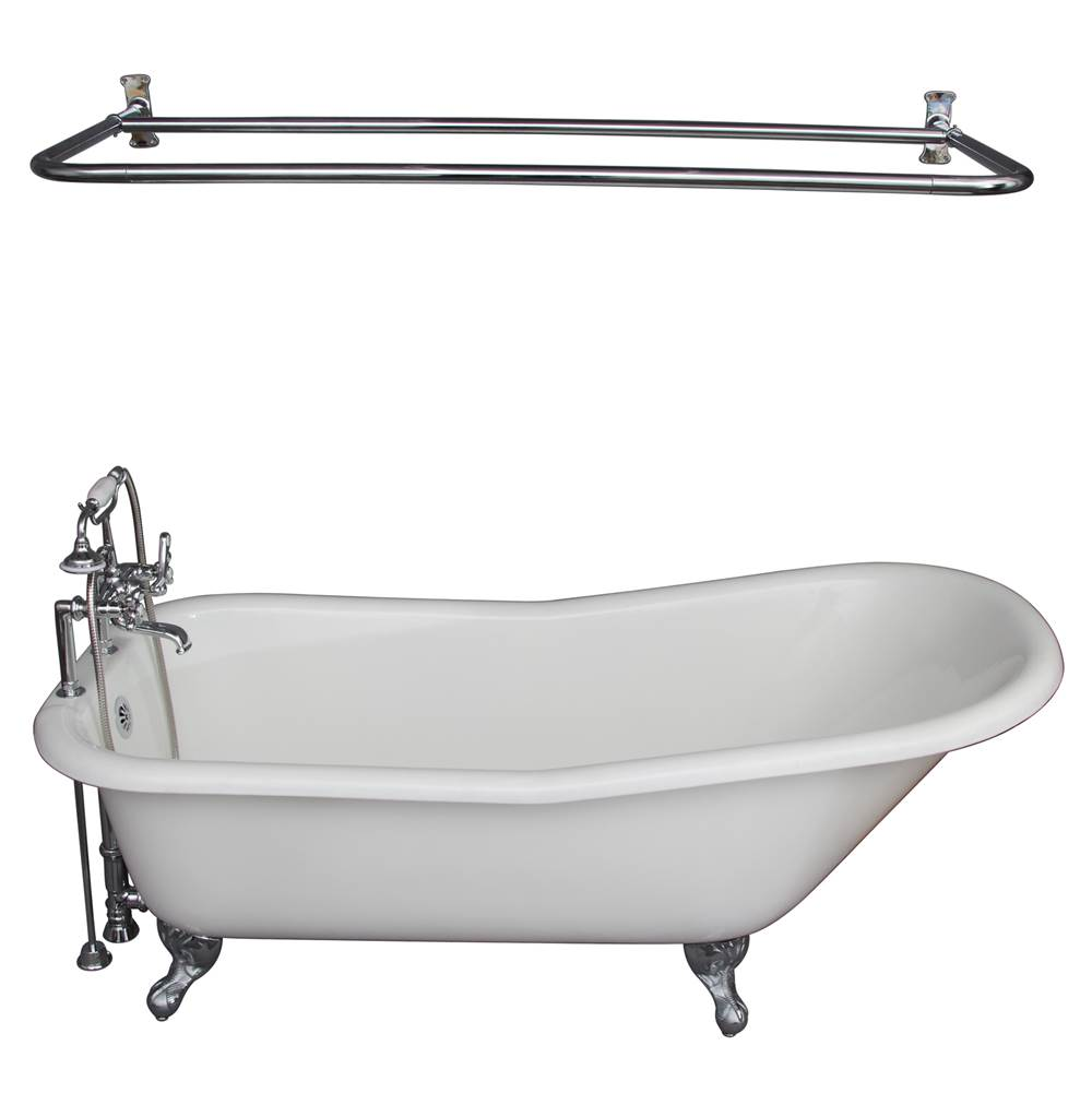 Barclay Tub Kit 60'' CI Slipper, Shwr Rd,Filler,Supplies, Drain-Chrm