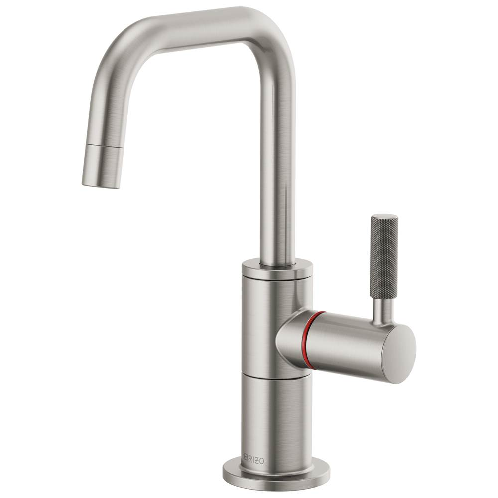 Brizo Litze: Instant Hot Faucet with Square Spout and Knurled Handle