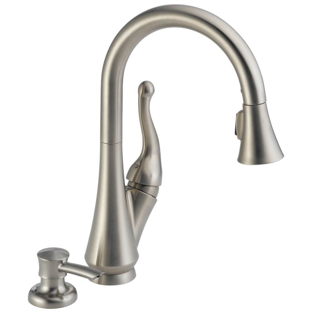 Delta Faucet Talbott: Single Handle Pull-Down Kitchen Faucet with Soap Dispenser