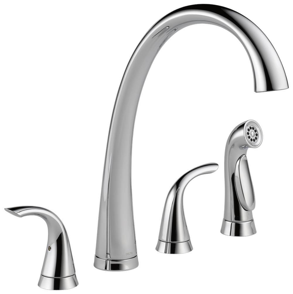 Delta Faucet Pilar: Two Handle Widespread Kitchen Faucet with Spray