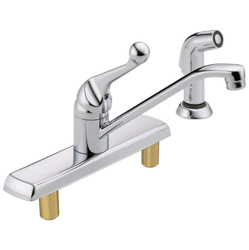 Delta Faucet 134 / 100 / 300 / 400 Series: Single Handle Kitchen Faucet with Spray