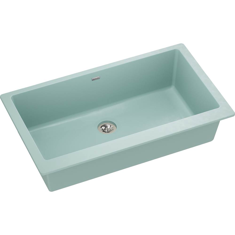 Elkay Reserve Selection Elkay Quartz Luxe 35-7/8'' x 19'' x 9'' Single Bowl Undermount Kitchen Sink with Perfect Drain, Mint Creme