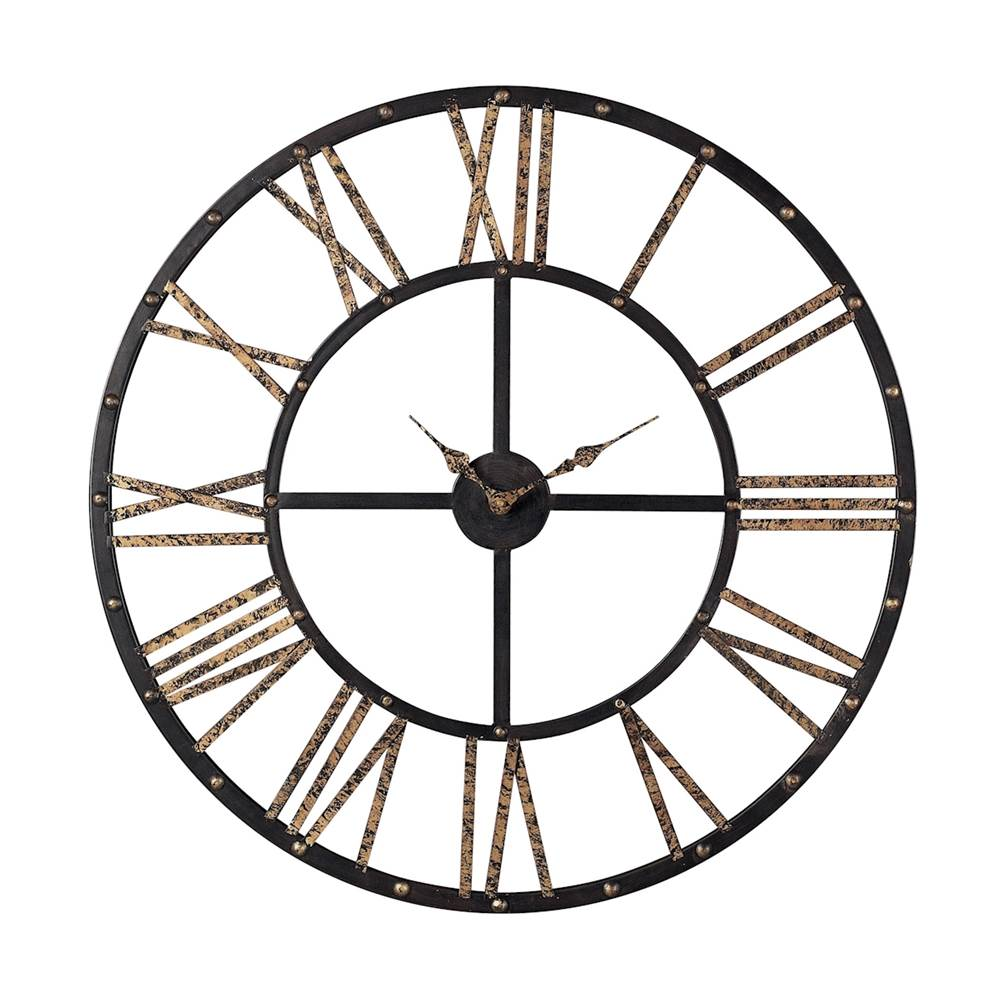 Elk Home Metal Framed Roman Numeral Open Back Wall Clock