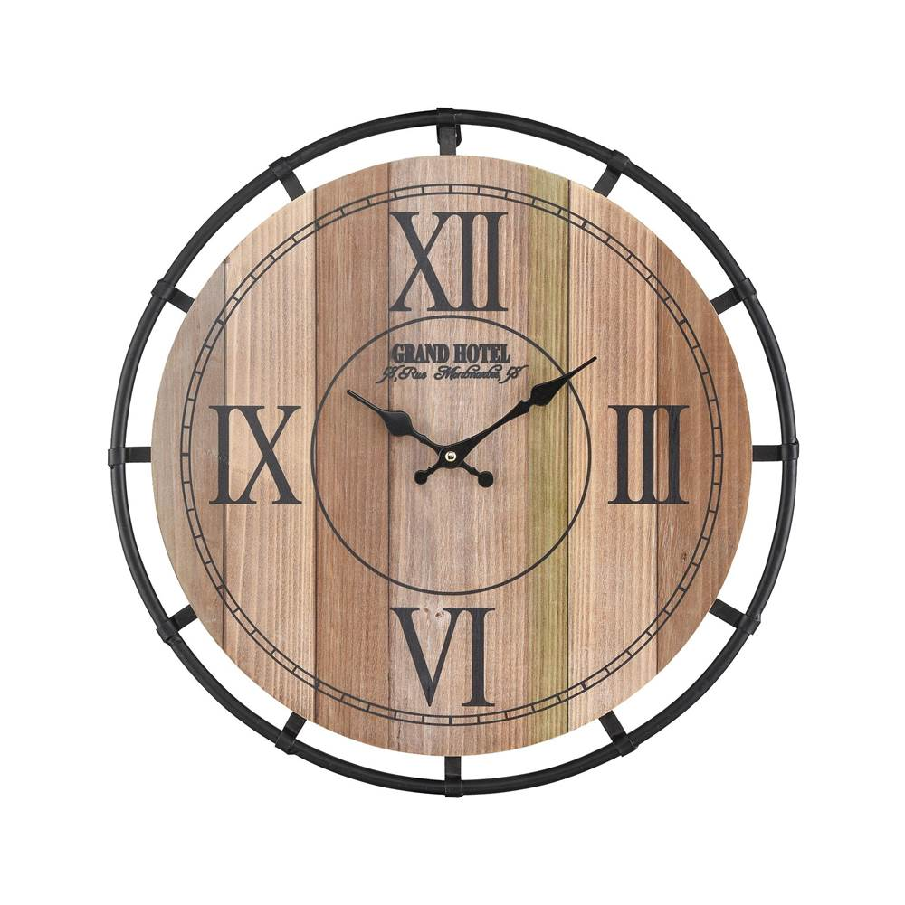Elk Home Torino Wall Clock in Natural Wood Tone Veneer and Black