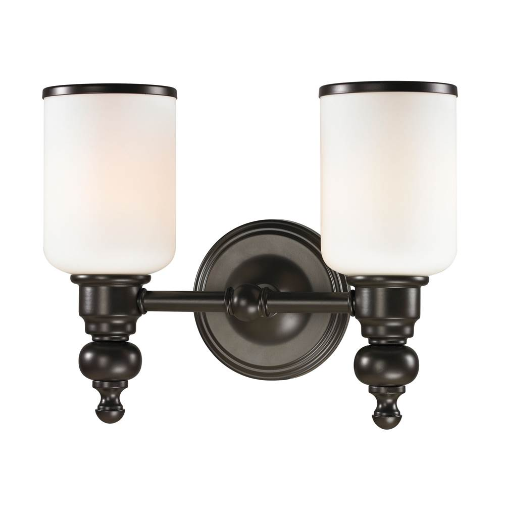 Elk Lighting Bristol Way 2-Light Vanity Lamp in Oil Rubbed Bronze with Opal White Blown Glass