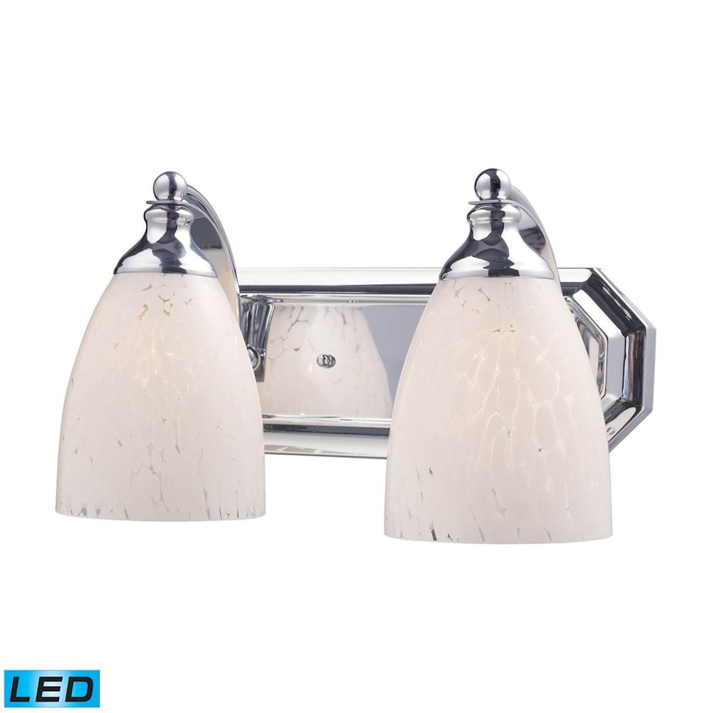 Elk Lighting Mix and Match Vanity 2-Light Wall Lamp in Chrome with Snow White Glass - Includes LED Bulbs