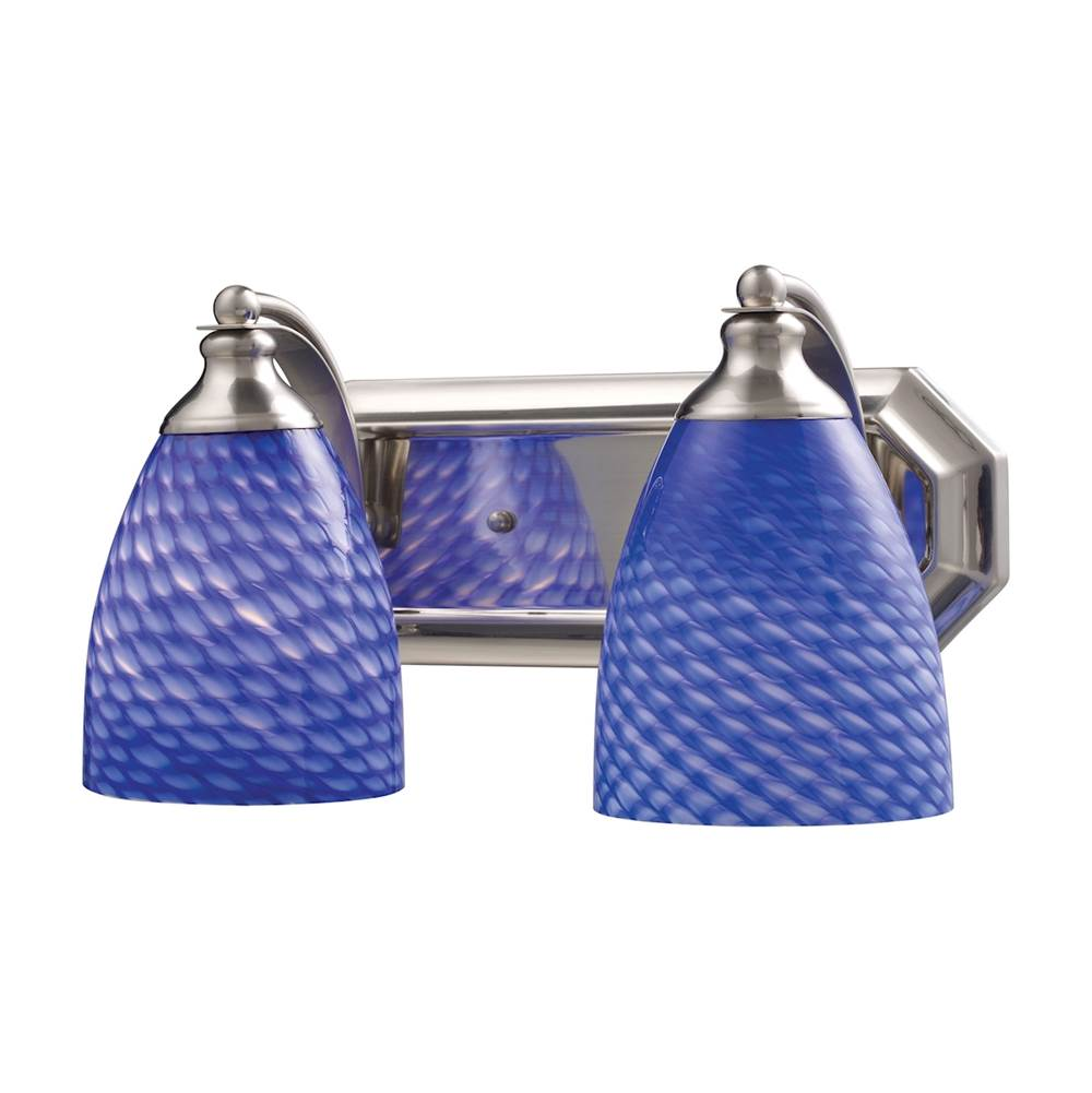 Elk Lighting Mix-N-Match Vanity 2-Light Wall Lamp in Satin Nickel with Sapphire Glass