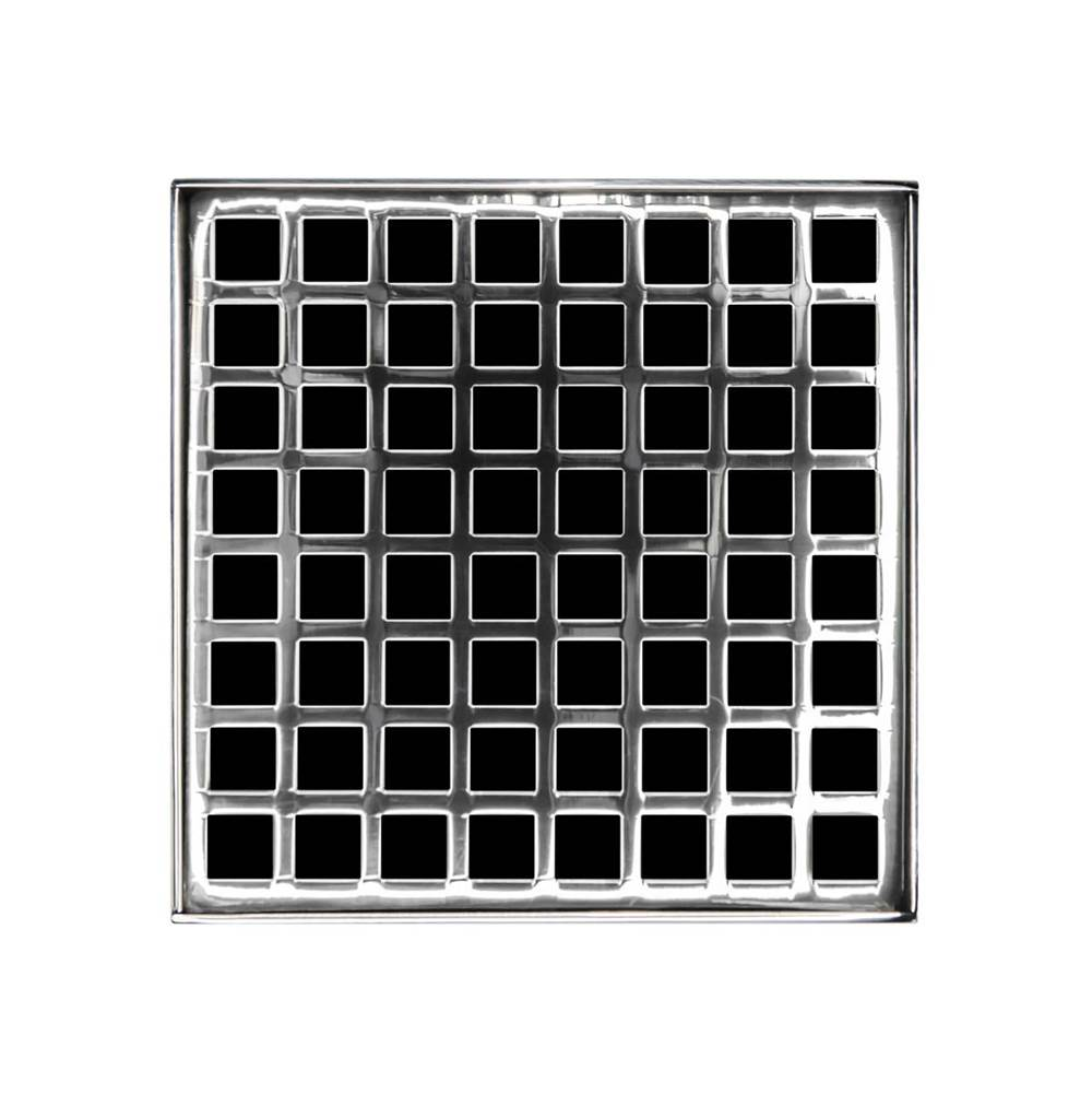 Infinity Drain 5'' x 5'' Squares Pattern Decorative Plate for Q 5, QD 5, QDB 5 in Polished Stainless