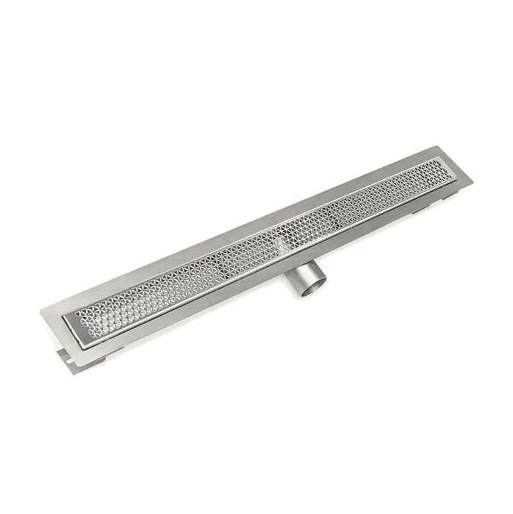 Infinity Drain 42'' FT Series Complete Kit with 2 1/2'' Marc Newson Grate in Satin Stainless