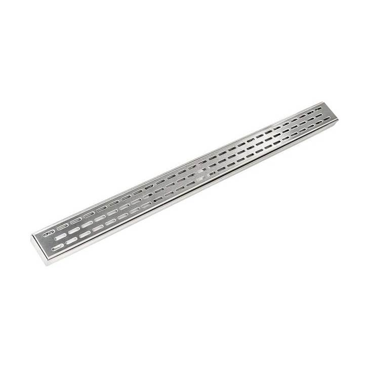 Infinity Drain 42'' FX Series Complete Kit with Perforated Offset Oval Grate in Satin Stainless