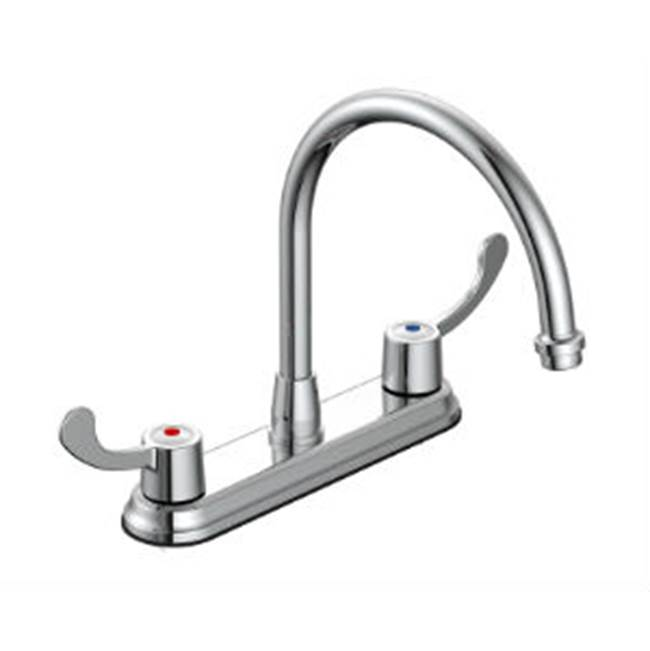 OmniPro 8'' Kitchen Faucet Cp,Wrist Blade Handles, Goose Neck Spout, Less Spray