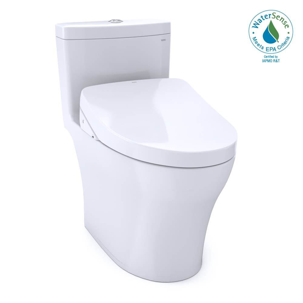 Toto WASHLET®+ Aquia® IV 1G® One-Piece Elongated Dual Flush 1.0 and 0.8 GPF Toilet with S550e Electric Bidet Seat, Cotton White-