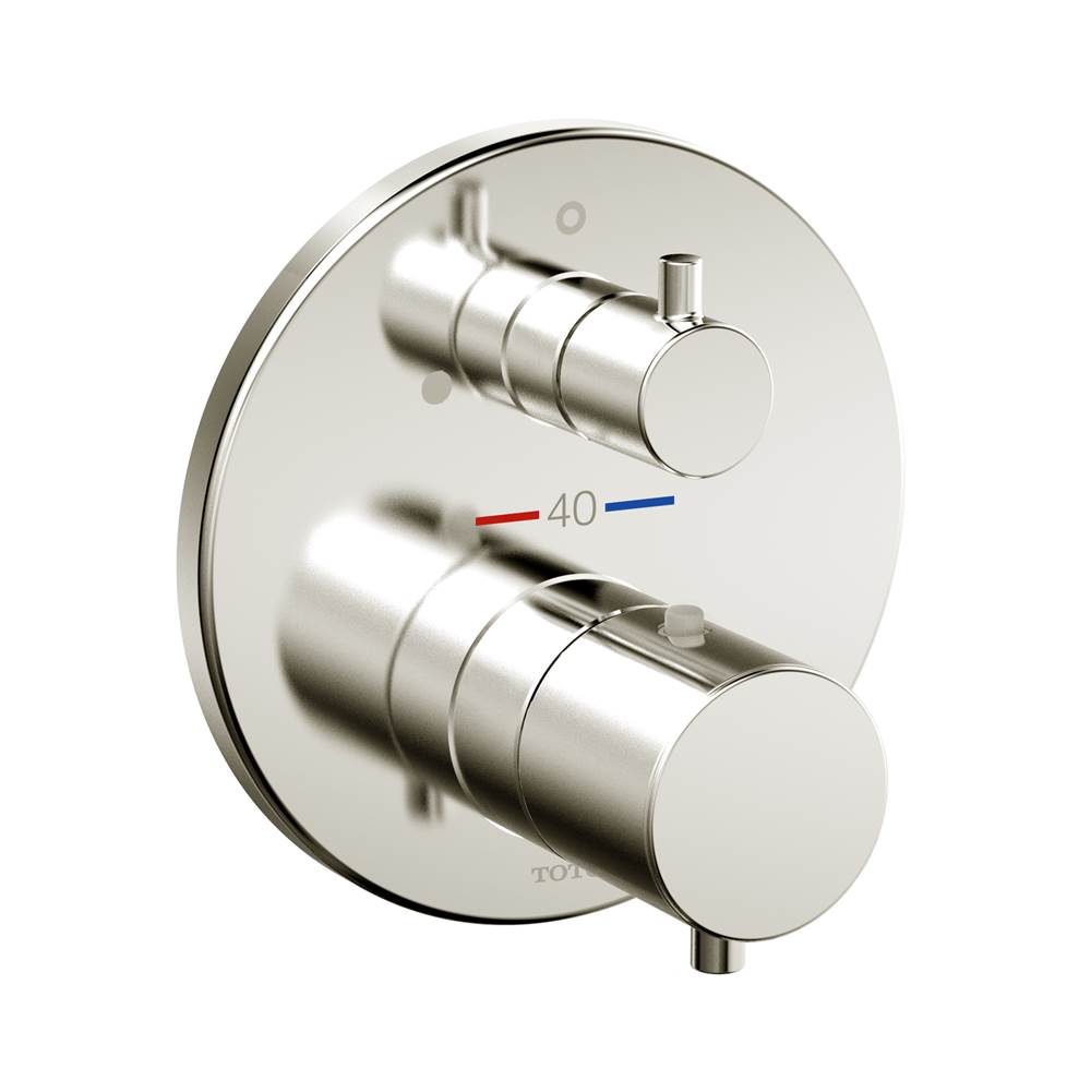 Toto Round Thermostatic Mixing Valve with Volume Control Shower Trim, Brushed Nickel