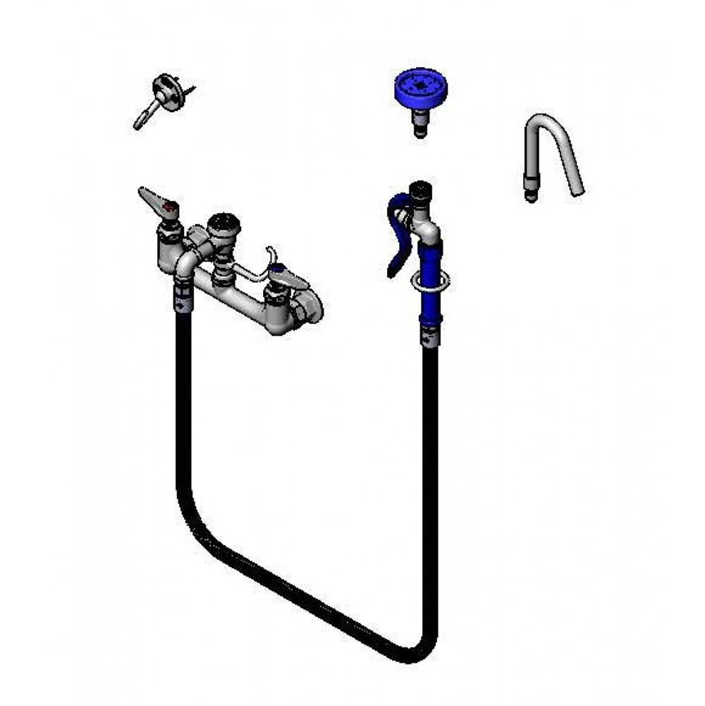 T&S Brass Pot and Kettle Filler, 8'' Wall Mount, Vacuum Breaker, 68'' Hose w/ Quick-Connect Spray Valve